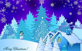 Picture winter, snow, house, holiday, tree, Christmas, snowman, snowflake, postcard