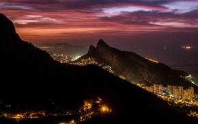 Picture night, the city, lights, Rio de Janeiro