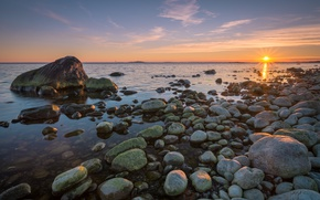 Picture sea, sunset, stones, coast, Sweden, Sweden