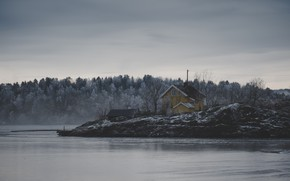 Picture ice, house, storm, river, trees, nature, winter, lake, snow, fog, frozen, cold, mist, frost