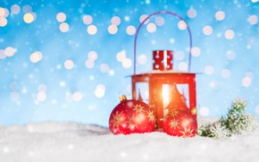 Picture winter, snow, decoration, snowflakes, New Year, Christmas, lantern, Christmas, winter, snow, bokeh, Merry Christmas, Xmas, …