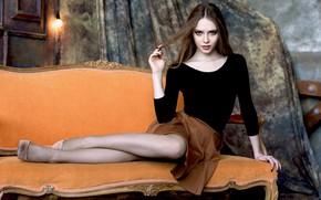 Picture look, pose, sofa, feet, mesh, Xenia, Liliya Kasimova