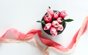 Picture flowers, bouquet, tape, tulips, pink, pink, romantic, tulips, spring