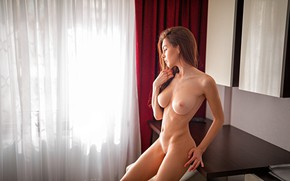 Wallpaper chest, girl, table, room, model, naked, body, makeup, figure, window, hairstyle, curtains, brown hair, curtains, ...