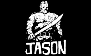 Picture Jason Voorhees, machete, Jason Voorhees, Friday the 13th, black and white, The Friday the 13th, ...