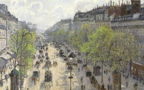 Picture trees, street, home, picture, the urban landscape, Camille Pissarro, The Boulevard Montmartre. Spring