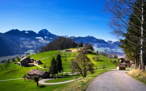 Picture road, the sun, mountains, home, spring, Switzerland, Switzerland, Mountains, Roads, Grassland