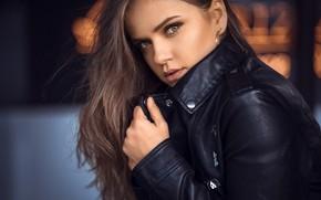 Wallpaper look, model, portrait, makeup, jacket, hairstyle, brown hair, beautiful, in black, bokeh, kozhanka, Dajana, Anatoly ...