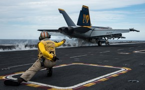 Wallpaper Super Hornet, deck, the carrier, the rise, FA-18E