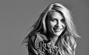 Picture smile, background, portrait, actress, hairstyle, blonde, black and white, 2014, Glamour, Claire Danes, Damon Baker, …
