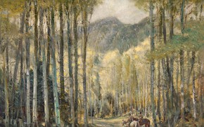 Picture road, forest, trees, mountains, horse, Oscar Edmund Berninghaus, In the Forest