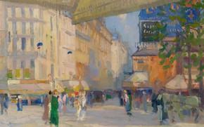 Picture picture, the urban landscape, Elie Anatole Pavil, Elie Anatole Pavil, Paris Street