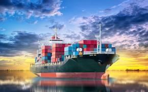 Picture blur, horizon, port, space, summer, sky, sea, marine, bokeh, wallpaper., the cargo ship, cargo ship, ...