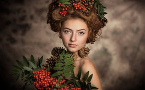 Wallpaper branches, Rowan, girl, berries, face, bumps, background, wreath, look, style