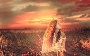 Picture grass, girl, clouds, sunset, mood, meadow