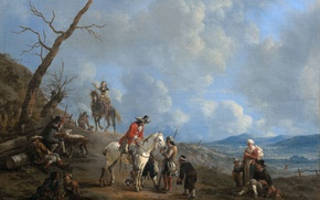 Wallpaper oil, picture, canvas, Johannes Lingelbach, Landscape with Riders, Hunters and Farmers