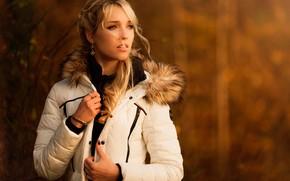 Picture autumn, background, portrait, makeup, jacket, hairstyle, blonde, white, fur, beauty, bokeh, Anja, Michael Kloetzer