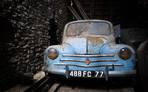Wallpaper scrap, Renault 4CV, machine