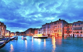 Picture sunset, city, the city, lights, the evening, Italy, Venice, channel, Italy, panorama, Europe, view, Venice, …