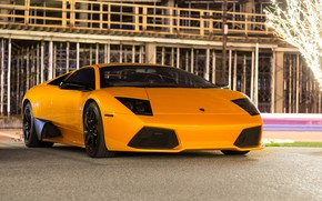 Picture Lamborghini, Light, Night, Murcielago, Yellow