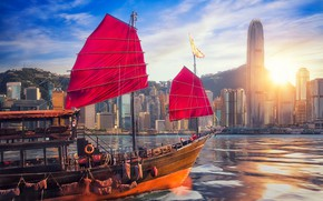 Picture China, ship, building, Hong Kong, China, skyscrapers, harbour, Hong Kong, junk, Victoria Harbour, The Victoria …