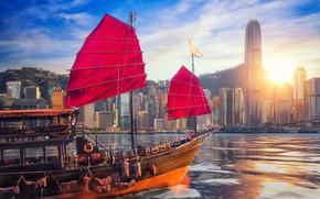 Wallpaper harbour, Hong Kong, building, China, China, junk, skyscrapers, ship, Hong Kong, The Victoria Harbour, Victoria ...