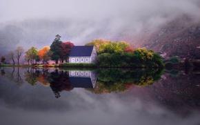 Wallpaper autumn, reflection, trees, mountains, fog, lake, house