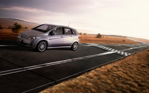 Picture road, the game, rails, track, car, Mercedes, hot hatch, Christophe Gilbert