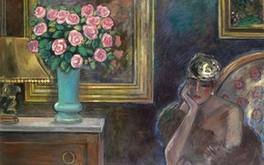 Picture 1978, beautiful stranger Snara, Jean-Pierre Cassigneul, the elusive charm of France, Interior with roses