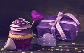Picture gift, tape, hearts, cream, cupcake, purple, violet, decoration rose, birthday cake
