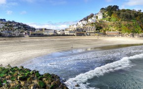 Picture sand, sea, beach, the sky, clouds, trees, stones, hills, shore, England, moss, home, Sunny, Looe