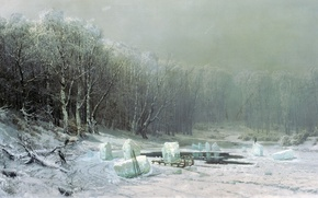 Picture forest, oil, Winter, ice, Icebreaker, canvas, 1878, Arseny MESHCHERSKY