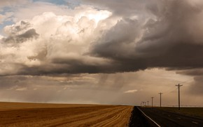Picture road, field, clouds