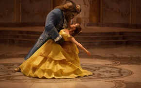 Picture cinema, Emma Watson, monster, lion, man, movie, blonde, film, Dancing, Dan Stevens, Beauty Beast