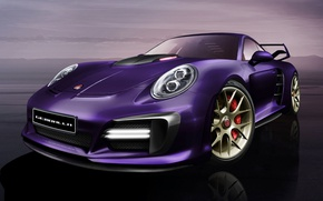 Picture sunset, design, reflection, lilac, tuning, headlight, porsche, avalanche, view, design, avalanche, gemballa, grille, 991, GEMBALLA
