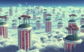 Picture the sky, clouds, house, fantasy, planet, skyscrapers, garden
