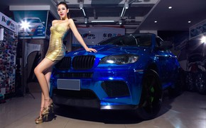 Wallpaper BMW, Girls, auto, beautiful girl, leaning on the car, look