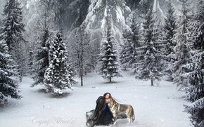 Picture Nature, Winter, Girl, Snow, Spruce, Wolf, Painting