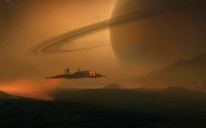 Picture space, fantasy, Planet, desert, science fiction, artwork, fantasy art, rings, vehicle, Titan, sci- fi