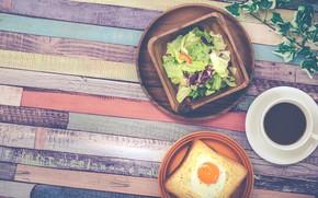 Picture coffee, food, Breakfast, scrambled eggs, salad, breakfast, toast