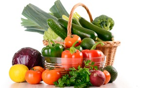 Picture greens, lemon, basket, bow, white background, pepper, vegetables, tomatoes, cabbage, cucumbers