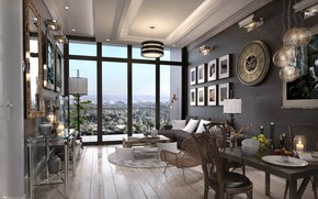 Picture furniture, window, chandelier, the room, TYPICAL LIVING & DINING AREA OPTION