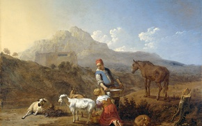Picture mountains, picture, genre, Karel Dujardin, Italian Landscape with Girl Milking a Goat