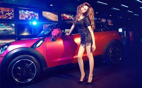 Picture auto, look, Girls, Asian, beautiful girl, MINI, is above the machine
