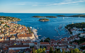 Picture sea, home, roof, panorama, Croatia, Hvar