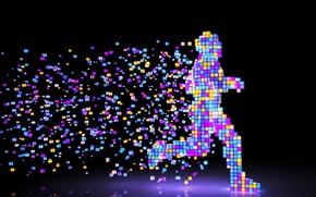 Picture colors, colorful, figure, man, Pixel, rendering, digital art, artwork, running