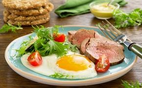 Picture greens, plate, meat, plug, scrambled eggs, tomato, ham, mustard