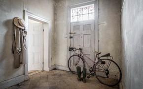Wallpaper bike, boots, the door