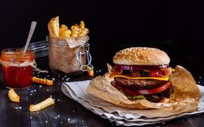 Wallpaper sauce, hamburger, Patty, sandwich, fast food, bun, salad, tomatoes, fast food, hamburger, meat, fries