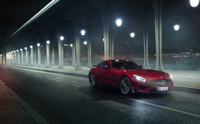 Picture Mercedes-Benz, Red, Car, Front, AMG, Night